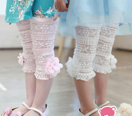 Wholesale 2016 Girls Kids Korean Summer Pants Beautiful Lace Stereo Flower Cotton Leggings Pink White Adorable Pants Size Age Y
