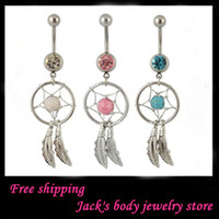 Wholesale mix color G Surgical Steel Body Jewelry Nickel free Crystal Single Gem Dream Catcher Dangle Belly Rings