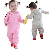 Girl Spring / Autumn 100% Cotton Girl's One-piece Hooded Romper Long Sleeve Jumpsuits 2 Colors 3 Sizes 1-3Y Baby Bodysuits Baby Clothing Outfits Sets Outwear