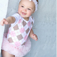 argyle pieces - 2016 Summer Baby Girls Argyle Back To School Style Pink Gauze Patche Short Sleeve One Piece Romper Dress Infant Baby Rompers B2877