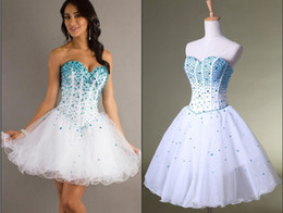 Wholesale 2014 Classic Designer Corset Crystals Graduation Dresses Ball Gowns White Sequins Short Prom dress Evening gowns Sweetheart Homecoming dress