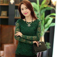 Women Microfibre Lace 2014 Fashion renda women lace shirt slim o-neck long-sleeve lace crochet Chiffon Top blusa de renda women