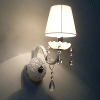 Wholesale Crystal Wall Light in White Fabric Shade
