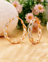 Wholesale 2015 Party dress New Fashion Simple Rose Gold Plated Diamante Big Arch Round Wedding Party Huggie Earrings for Women in Jewelry