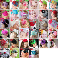 Hair Sticks Lace Solid New TopBaby boys girls large flower crochet hair bow clip Feather headband baby headband baby hair band a607