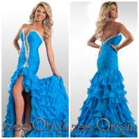 Reference Images Sweetheart Chiffon Chiffon Rhinestone Embellished Teen Evening Gowns 2015 Royal Blue Style Sweet-Heart Slit Side Backless Beads Prom Celebrity Dresses HH19