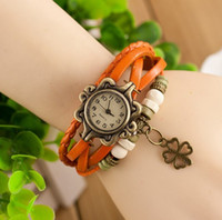 Fashion arrival clovers - 20PCS New Arrivals colors Fashionable winding clovers pendant retro leather strap women watch for women girl