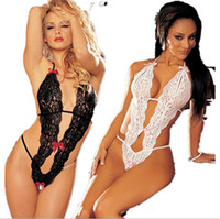 Wholesale Women s see through Lustful Valentine Open Crotch bra cup bust sexy lace halter teddy bodysuit badydoll crotchless lingeries sexy costumes