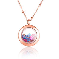 Wholesale Hot fashion rose gold plated L stainless steel floating color stones charms round glass photo locket pendant necklace jewelry