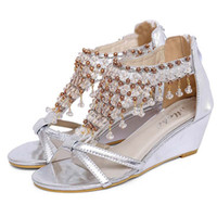 Wholesale Hot sale med heels beading women wedges sandals shoes fashion casual silver gold cover heel zip gladiator sandals