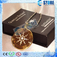 Beaded Necklaces Unisex Gift Wholesale - Golden Sun flower Quantum Scalar Energy Pendant with CZ Diamonds Stainless Steel Health Necklace, 50 Pcs lot Free Shipping,wu