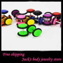 Acrylic cheater plug free shipping E03 wholesales 100pcs lot 8mm piercing jewelry uv fake ear plug ear taper earring stud