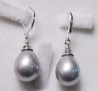 Wholesale Grey South Sea Shell Pearl Drop Earrings AAA