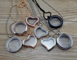 Wholesale 30mm Living Memory Floating Glass Round Heart Locket Pendant Necklaces styles