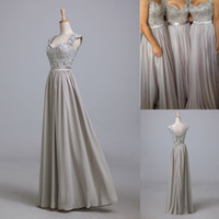 Wholesale 2014 Hot Sale Applique Chiffon Silver Evening Dresses Sequins Sweetheart Sleeveless Lace Up Back Bridesmaid Mother of the Bride Gowns SD088