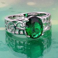 Wholesale New hot fashion woman s Silver oval Green Yellow Purple Zirconia Topaz Ring BT0028