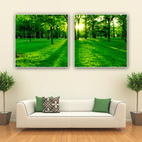 Bamboo Yes XuanYi Free Shipping 2 Panel Wall Art Picture The Green Art Tree Sunrise Light all Earth Picture On Canvas Modern Pictures Home Decor