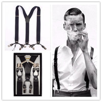 Wholesale Men s Suspenders suspender straps shoulder straps Black boxY back Suspenders Clip on Adjustable Unisex Pants Y back Suspender