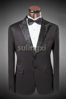 Wholesale New Grooms Wedding Suits Costumes For Mens Formal Dress Slim Fit Black Dragon Neck Suits Brand Jacket Blazer Pants Luxury