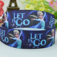 Wholesale 7 mm Frozen Princess cartoon characters printed grosgrain satin ribbons hairbow party decoration yards C