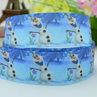 Wholesale 7 mm Frozen olaf cartoon characters printed grosgrain satin ribbons hairbow party decoration yards C