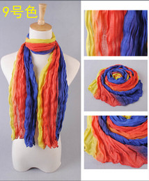 Wholesale Hot sale Ms three fold gradient color stitching cotton scarves Spring scarves
