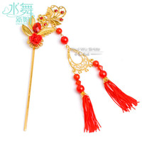 Wholesale BX00008 Chinese style bridal costume headdress Bob Chinese red tassels hairpin step shake classical clay flower accessories shadows