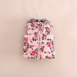Wholesale 2014 Kids Girls print pink floral Waistcoat Baby girl fashion Hoodie cotton flower outwear