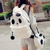 Wholesale 2014 New set Canvas Cartoon Backpack Student Bag Plush Black And White Color Block Bags Set Panda Backpacks