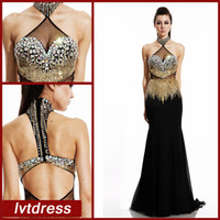 Wholesale Gold Long Black Pageant Dresses Mermaid Evening Gowns Vintage Sheer High Neck Beaded Sequined Crystals Bodice Chiffon Part Dress Sexy