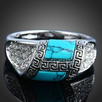 Wholesale Good quality Classical Silver White gold plated fashion jewelry charm crystal Turquoise ring
