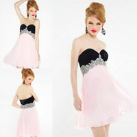Multi Colors Black and Pink Short Chiffon Homecoming Dresses...