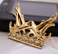 Wholesale A Song of Ice and Fire Brooches Antlers with a Golden Crown Badge B14