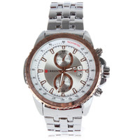 Sport Men's Auto Date Curren 8082 Sport Stainless & Plated Metal Band Men Wrist Watch Analog Round Wristwatch with Date Hours Display