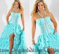 Model Pictures Halter Organza Cheap!!! Aqua Halter Prom dresses Tiered Beaded Pageant dresses Ruffle Evening dresses Rizee Original for dubai Vestidos De Fiesta WD770