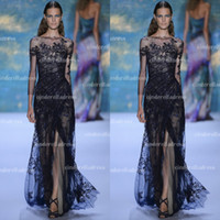 Wholesale 2014 Elie Saab Bateau Mermaid Sheer Lace Black Sexy Designer Evening Dresses Fashion Long Sleeves Illusion Prom Gowns Celebrity Dress AS042