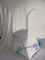 Wholesale 100 Good Quality Spandex Chair cover white Color Common size Lycra Chair Cover for Wedding to Russia
