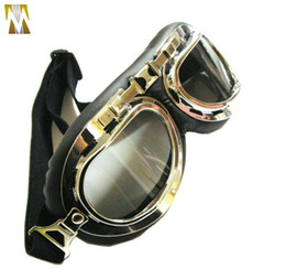 Wholesale SMOKE LENS GOGGLES AMBER LENS WWII RAF VINTAGE PILOT GOGGLES MOTORCYCLE GOGGLES BIKER CRUISER HELMET GLASSES