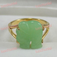 Three Stone Rings China-Tibet  Amazing Green Jade Elephant Lucky Ring 6-10#