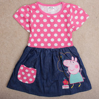 Baby clothes 2014 summer peppa pig pink t- shirt dress girl p...