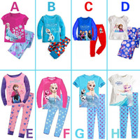Girl Spring / Autumn Long 2014 Baby Girls Frozen Pajamas Kids Anna Elsa Olaf Princess Pajamas Children Summer And Autumn Clothes New Cotton 2Piece Set Color Random