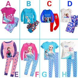 Wholesale 2014 Baby Girls Frozen Pajamas Kids Anna Elsa Olaf Princess Pajamas Children Summer And Autumn Clothes New Cotton Piece Set Color Random