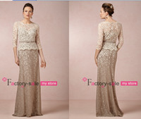 Wholesale 2014 Sheer Lace Mother of the Bride Dresses with Long Sleeves Evening Gowns Plus Size Prom Dresses with Satin Ribbon BO5977