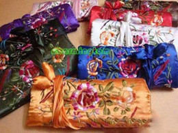 Wholesale Silk Travel Jewelry Rolls - wholesale 10PCS EMBROIDERED Silk Fabric Jewelry Roll Bag Travel Storage Case Gift Pouches Zipper Drawstring Packaging Bags