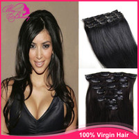 Wholesale 20 inch set JET BLACK Col Full Head Clip in Human Hair Extensions High quality Remy Hair Ponytail g set