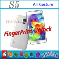 Wholesale S5 I9600 Android4 Cell Phone Quad Core GHZ G RAM G ROM With Inch IPS Screen Air Gesture G Fingerprint Phone