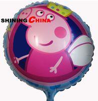 Wholesale 100pcs bag inch cartoon Peppa Pig ballon crown birthday children party decoration inflatable helium aluminium Foil balloons