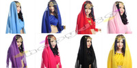 Belly Dancing sari - free ship fashion lady gold coin chiffon belly dance sari veil scarf woman Indian dance headdress props color choosing