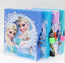 Wholesale OUTLETS FROZEN student diaries snow adventure notebook big adventure hardcover notebook cartoon lock dimensional hardcover notebook LY
