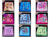 Wholesale Satin rayon silk polyster cm Square Scarf Neckscarf sarongs shawl warp Hijabs mixed
